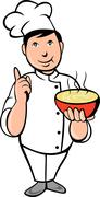 Stock Illustration of cartoon chef cook with bowl of soup