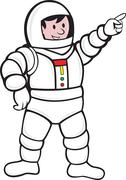 Cartoon astronaut standing pointing Stock Illustration