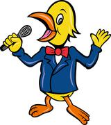 yellow bird singing microphone karaoke - stock illustration