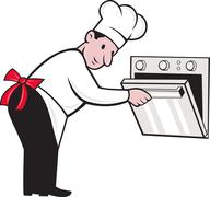 Cartoon chef baker cook opening oven Stock Illustration