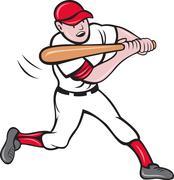 Stock Illustration of baseball player batting cartoon style