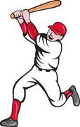 Baseball player batting cartoon style Stock Illustration