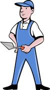 brick layer mason plasterer worker standing - stock illustration