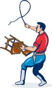 lion tamer with whip and holding a chair - stock illustration