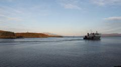 Time lapse Calmac ferry departing Oban Scotland Stock Footage