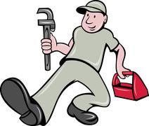 Plumber with monkey wrench and toolbox Stock Illustration