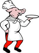 cartoon pig chef cook baker serving platter - stock illustration