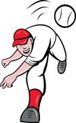 Baseball player pitcher throwing ball Stock Illustration