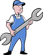 mechanic with spanner wrench standing - stock illustration