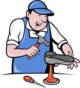 shoemaker cobbler shoe repair working - stock illustration