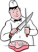 cartoon butcher knife sharpening meat - stock illustration