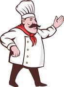 Cartoon italian chef with mustache Stock Illustration
