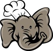 Stock Illustration of cartoon chef cook baker elephant