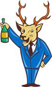 stag deer holding champagne wine bottle - stock illustration