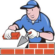 bricklayer mason at work - stock illustration