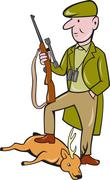 cartoon hunter with rifle standing on deer - stock illustration