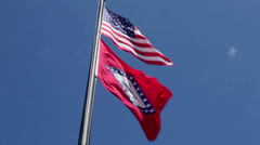 Stock Video Footage of US and Arkansas Flags01