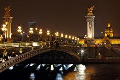 The alexander iii bridge at night in paris, france Stock Photos