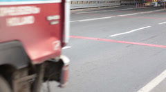 Vehicles passing through the fee booth in entrance of high-speed road Stock Footage