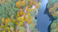 Stock Video Footage of The river in the wood in autumn.Aerial clip