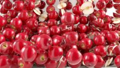 Red Apples falling down with slow motion. Alpha matte Stock Footage