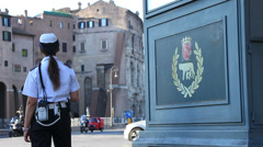 Rome symbol & traffic police Stock Footage