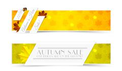 Set of Autumn Promotional Banners with Seamless Pattern Stock Illustration