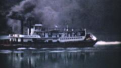 Old Paddlewheel Barge In Ohio-1940 Vintage 8mm film Stock Footage
