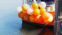 Fishing boats buoys Stock Footage