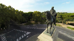Statue of Garibaldi, Janiculum Hill, Rome 1 (Helicopter shot) Stock Footage