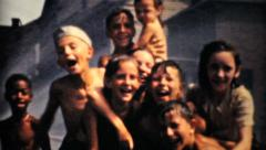 Kids Cooling Off During A Summer Heat Wave-1940 Vintage 8mm film Stock Footage