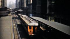 The Famous L Train In Chicago-1940 Vintage 8mm film - stock footage