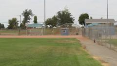 Baseball Outfield to Infield Pan Right Stock Footage