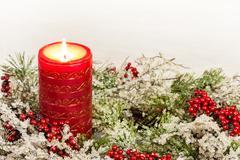 Advent Candle of Christmas Season Stock Photos