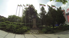 Statue with Bulgarian flags Stock Footage