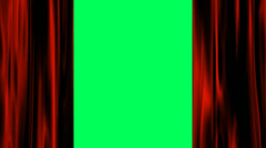 Green screen behind red satin curtains - stock footage