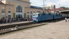 Train, transportation, station, platform, Kazakhstan, former Soviet Union Stock Footage