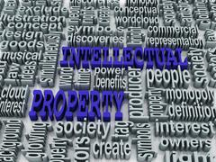 3d collage of intellectual property and related words - stock illustration