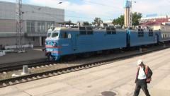 Pulling away from the station on the Astana to Almaty railroad Stock Footage