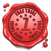 Free Trial 7 Days- Stamp on Red Wax Seal. Stock Illustration