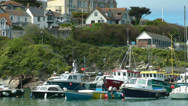 Stock Video Footage of Harbour of Newquay with fishing boats, Cornwall, United Kingdom (England)