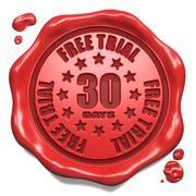Free Trial 30 Days- Stamp on Red Wax Seal. Stock Illustration