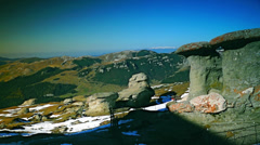 Strange shaped rocks, geomorphology in the Carpathian Mountains, Stock Footage