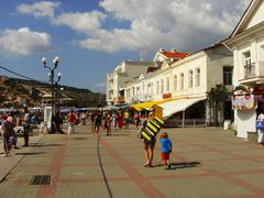Balaklava town waterfront, crimea Stock Photos