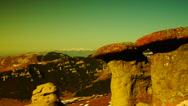 Stock Video Footage of Strange shaped rocks, geomorphology in the Carpathian Mountains,