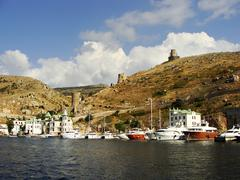 genoese fortress cembalo and balaklava town, crimea - stock photo