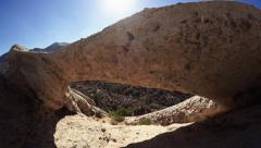 Devils Punchbowl Arch Pan Stock Footage