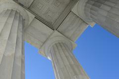 Lincoln memorial pillars in washington dc Stock Photos