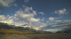 Chilkat Riverbed Autumn Mountains Time Lapse Stock Footage