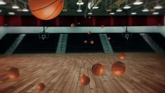 Basketballs bouncing stadium background - stock footage